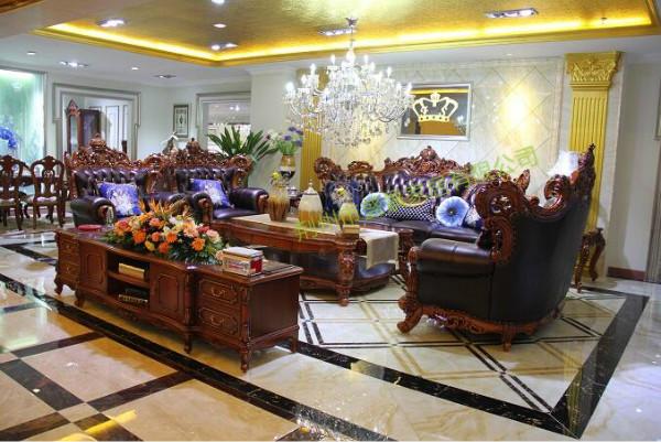 荆州实木沙发、盛景家居特卖场、中式实木沙发图片