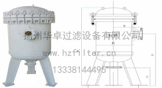 揚州華卓_大流量PP袋式過濾器生産廠家_大流量PP袋式過濾器